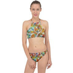 Colorful Paint Brushes On A White Background                                        Racer Front Bikini Set