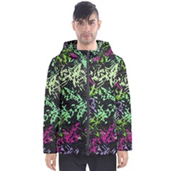 Misc Shapes On A Black Background                                         Men s Hooded Puffer Jacket