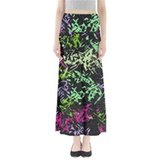 Misc Shapes On A Black Background                                    Women s Maxi Skirt by LalyLauraFLM