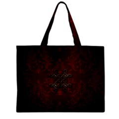 Decorative Celtic Knot On Dark Vintage Background Zipper Mini Tote Bag by FantasyWorld7