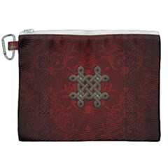 Decorative Celtic Knot On Dark Vintage Background Canvas Cosmetic Bag (xxl) by FantasyWorld7