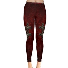 Decorative Celtic Knot On Dark Vintage Background Inside Out Leggings