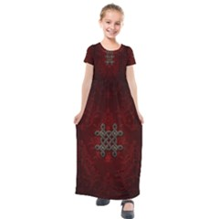Decorative Celtic Knot On Dark Vintage Background Kids  Short Sleeve Maxi Dress by FantasyWorld7