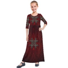Decorative Celtic Knot On Dark Vintage Background Kids  Quarter Sleeve Maxi Dress by FantasyWorld7