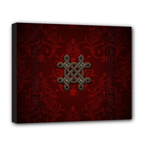 Decorative Celtic Knot On Dark Vintage Background Deluxe Canvas 20  X 16   by FantasyWorld7