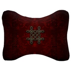Decorative Celtic Knot On Dark Vintage Background Velour Seat Head Rest Cushion by FantasyWorld7