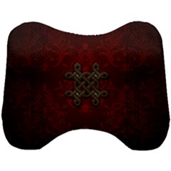 Decorative Celtic Knot On Dark Vintage Background Head Support Cushion by FantasyWorld7