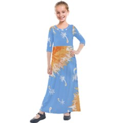 Floating Wishes Kids  Quarter Sleeve Maxi Dress by lwdStudio4Kids