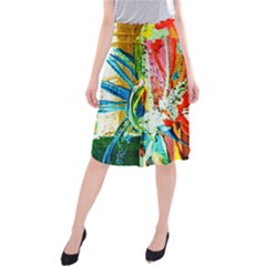 Red Aeroplane 2 Midi Beach Skirt