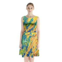 Sunfire Sleeveless Waist Tie Chiffon Dress by lwdstudio