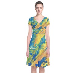 Sunfire Short Sleeve Front Wrap Dress by lwdstudio