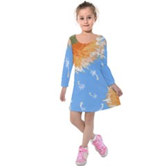 Floating Wishes Kids  Long Sleeve Velvet Dress