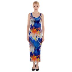 Palm Trees Tropical Beach Sunset Fitted Maxi Dress