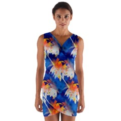 Palm Trees Tropical Beach Sunset Wrap Front Bodycon Dress