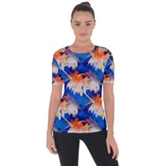 Palm Trees Tropical Beach Sunset Shoulder Cut Out Short Sleeve Top