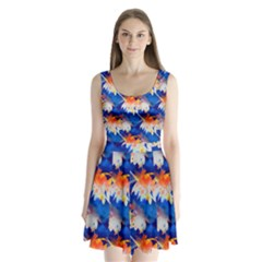 Palm Trees Tropical Beach Sunset Split Back Mini Dress