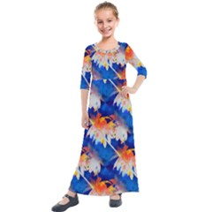 Palm Trees Tropical Beach Sunset Kids  Quarter Sleeve Maxi Dress