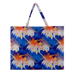 Palm Trees Tropical Beach Sunset Zipper Large Tote Bag by CrypticFragmentsColors