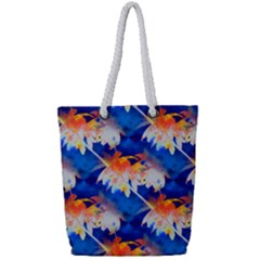 Palm Trees Tropical Beach Sunset Full Print Rope Handle Tote (small) by CrypticFragmentsColors