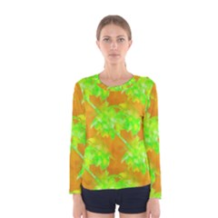 Coconut Palm Trees Caribbean Vibe Women s Long Sleeve Tee by CrypticFragmentsColors