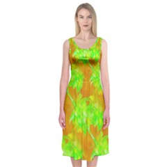 Coconut Palm Trees Caribbean Vibe Midi Sleeveless Dress