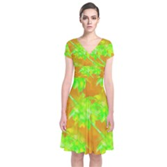 Coconut Palm Trees Caribbean Vibe Short Sleeve Front Wrap Dress