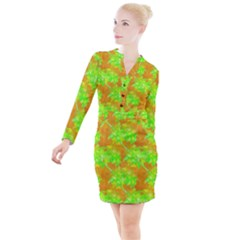 Coconut Palm Trees Caribbean Vibe Button Long Sleeve Dress by CrypticFragmentsColors