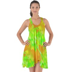 Coconut Palm Trees Caribbean Vibe Show Some Back Chiffon Dress