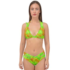 Coconut Palm Trees Caribbean Vibe Double Strap Halter Bikini Set by CrypticFragmentsColors