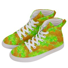 Coconut Palm Trees Caribbean Vibe Women s Hi Top Skate Sneakers by CrypticFragmentsColors