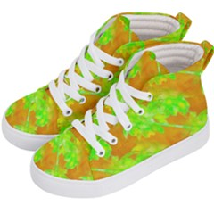 Coconut Palm Trees Caribbean Vibe Kid s Hi Top Skate Sneakers by CrypticFragmentsColors