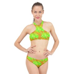 Coconut Palm Trees Caribbean Vibe High Neck Bikini Set