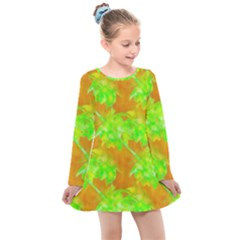 Coconut Palm Trees Caribbean Vibe Kids  Long Sleeve Dress