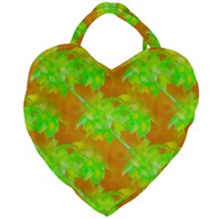Coconut Palm Trees Caribbean Vibe Giant Heart Shaped Tote by CrypticFragmentsColors