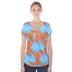Coconut Palm Trees Tropical Dawn Short Sleeve Front Detail Top by CrypticFragmentsColors