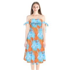 Coconut Palm Trees Tropical Dawn Shoulder Tie Bardot Midi Dress by CrypticFragmentsColors
