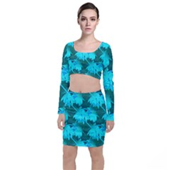 Coconut Palm Trees Caribbean Sea Long Sleeve Crop Top & Bodycon Skirt Set