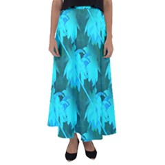 Coconut Palm Trees Caribbean Sea Flared Maxi Skirt by CrypticFragmentsColors