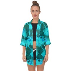 Coconut Palm Trees Caribbean Sea Open Front Chiffon Kimono by CrypticFragmentsColors