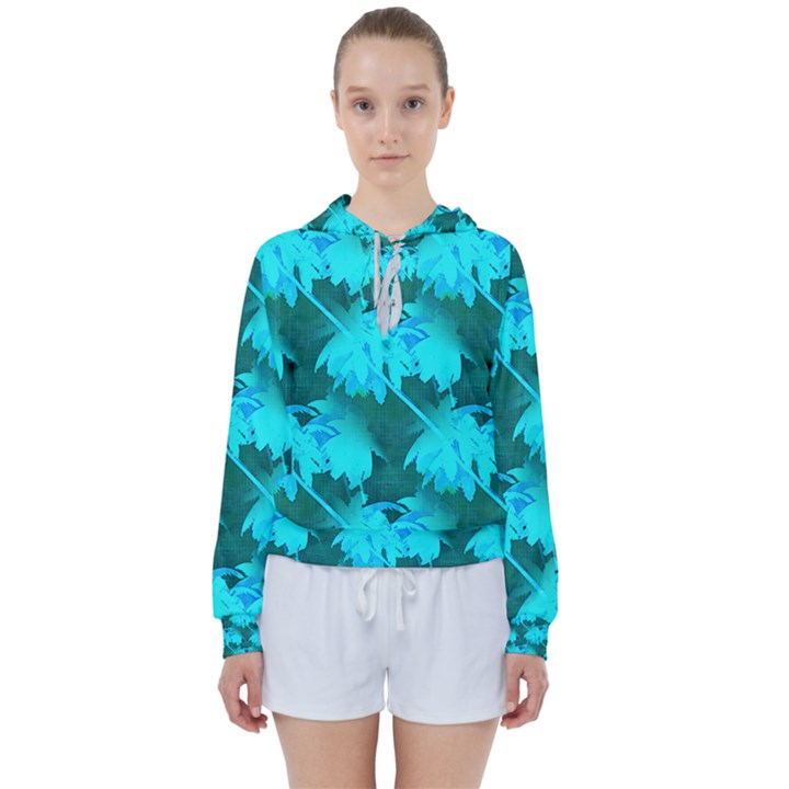 Coconut Palm Trees Caribbean Sea Women s Tie Up Sweat