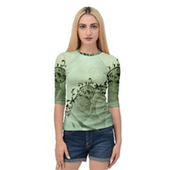Elegant, Decorative Floral Design In Soft Green Colors Quarter Sleeve Raglan Tee by FantasyWorld7
