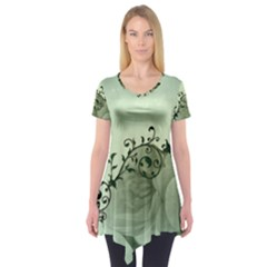 Elegant, Decorative Floral Design In Soft Green Colors Short Sleeve Tunic  by FantasyWorld7