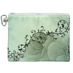Elegant, Decorative Floral Design In Soft Green Colors Canvas Cosmetic Bag (xxl) by FantasyWorld7