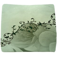 Elegant, Decorative Floral Design In Soft Green Colors Seat Cushion