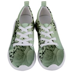 Elegant, Decorative Floral Design In Soft Green Colors Women s Lightweight Sports Shoes