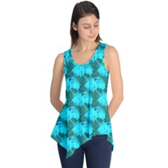 Coconut Palm Trees Blue Green Sea Small Print Sleeveless Tunic by CrypticFragmentsColors
