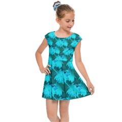 Coconut Palm Trees Blue Green Sea Small Print Kids Cap Sleeve Dress by CrypticFragmentsColors