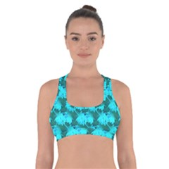 Coconut Palm Trees Blue Green Sea Small Print Cross Back Sports Bra by CrypticFragmentsColors