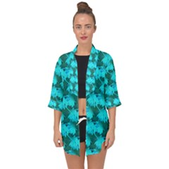 Coconut Palm Trees Blue Green Sea Small Print Open Front Chiffon Kimono by CrypticFragmentsColors