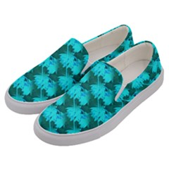 Coconut Palm Trees Blue Green Sea Small Print Men s Canvas Slip Ons by CrypticFragmentsColors